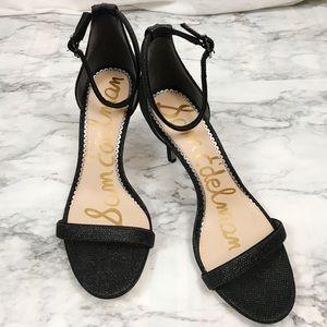 Sam Edelman NWOT Ankle Strap Black Sparkle Heels